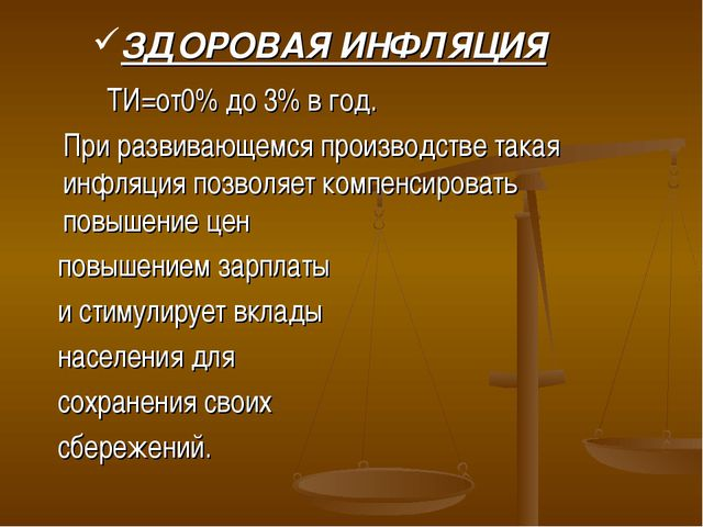 ЗДОРОВАЯ ИНФЛЯЦИЯ ТИ=от0% до 3% в год. При развивающемся производстве така...