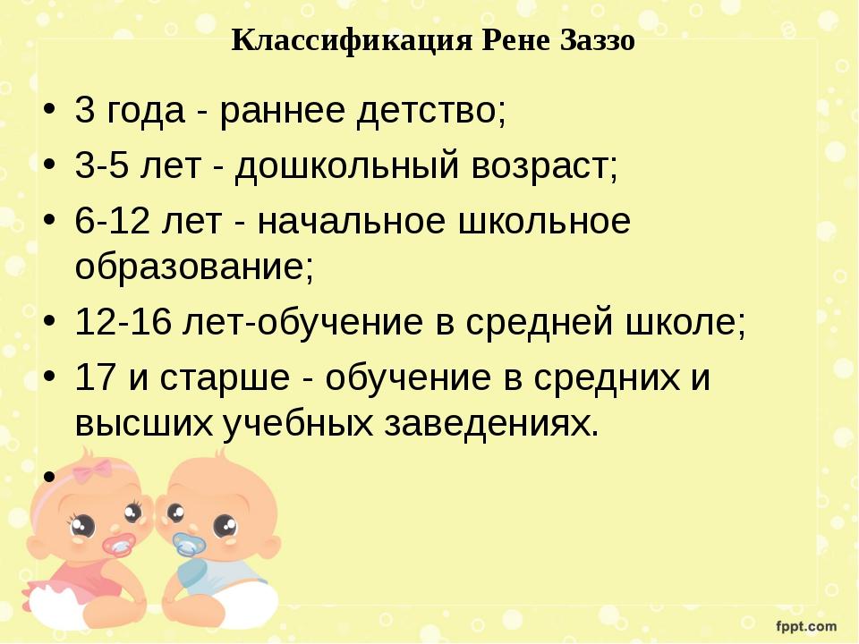 Классификация Рене Заззо 3 года - раннее детство; 3-5 лет - дошкольный возра...