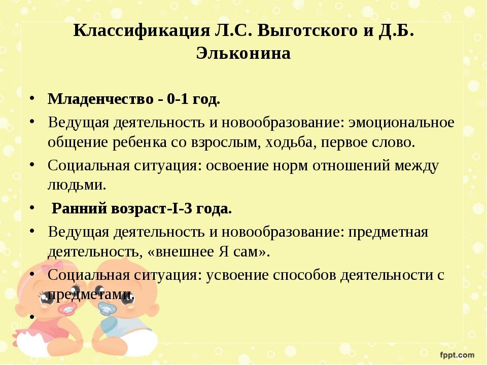 Классификация Л.С. Выготского и Д.Б. Эльконина Младенчество - 0-1 год. Ведуща...