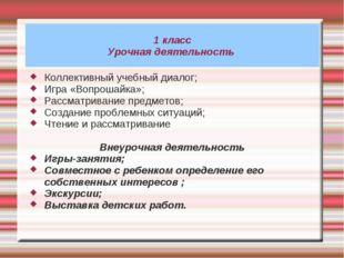 1 класс Урочная деятельность Коллективный учебный диалог; Игра «Вопрошайка»;