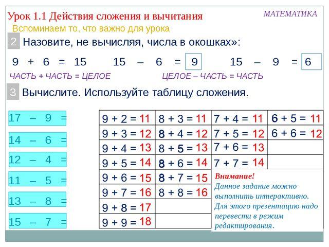 13 – 8 = 11 – 5 = 14 – 6 = 12 – 4 = 15 – 7 = 17 – 9 = Урок 1.1 Действия сложе...