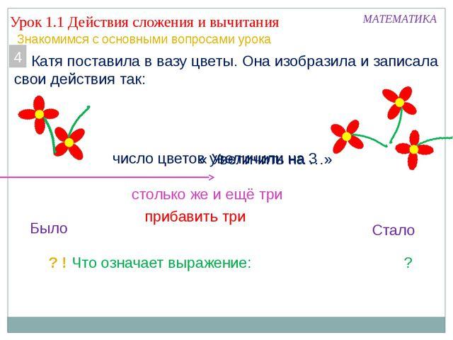 Урок 1.1 Действия сложения и вычитания МАТЕМАТИКА Знакомимся с основными вопр...