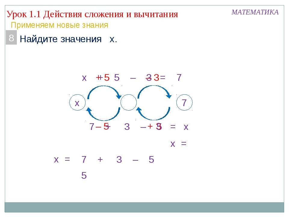 Урок 1.1 Действия сложения и вычитания МАТЕМАТИКА Применяем новые знания 7. Н...