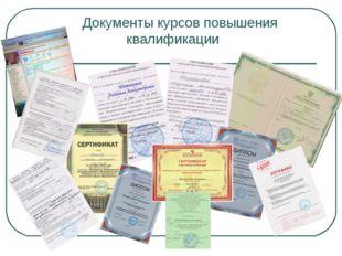 Документы курсов повышения квалификации