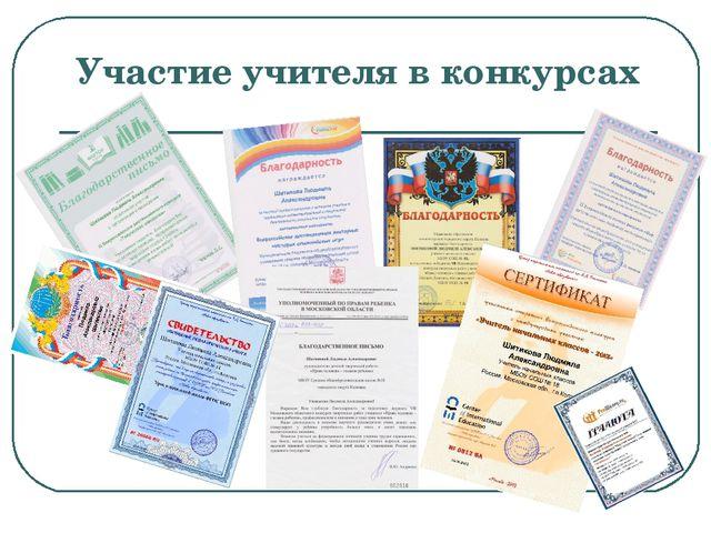 Участие учителя в конкурсах
