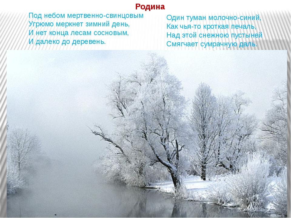 Под небом мертвенно-свинцовым Угрюмо меркнет зимний день, И нет конца лесам с...