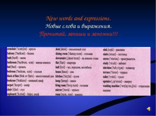 New words and expressions. Новые слова и выражения. Прочитай, запиши и запомн