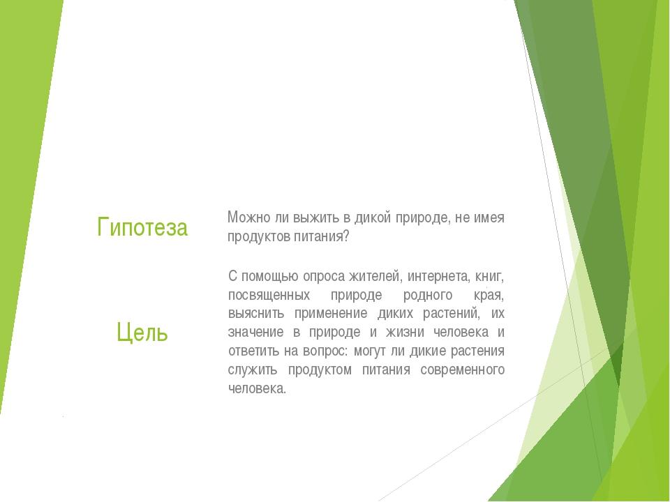 Учебный проект на тему: «Дикие растения на службе человека» Гипотеза Можно ли...