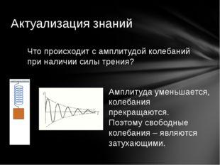 Актуализация знаний Что происходит с амплитудой колебаний при наличии силы тр