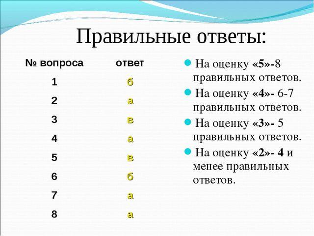 Правильные ответы: На оценку «5»-8 правильных ответов. На оценку «4»- 6-7 пра...