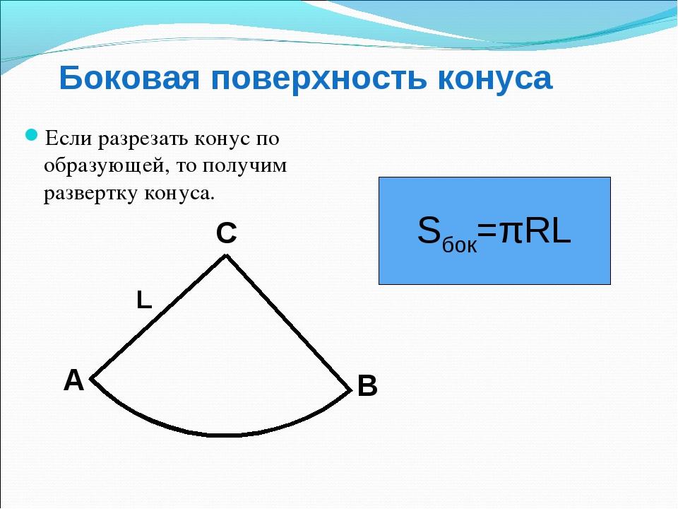 Боковая поверхность конуса Если разрезать конус по образующей, то получим раз...