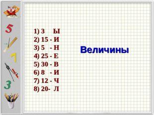 1) 3 Ы 2) 15 - И 3) 5 - Н 4) 25 - Е 5) 30 - В 6) 8 - И 7) 12 - Ч 8) 20- Л Вел