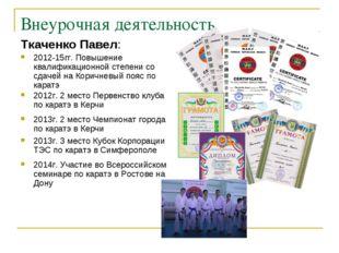 Внеурочная деятельность Ткаченко Павел: 2012-15гг. Повышение квалификационной