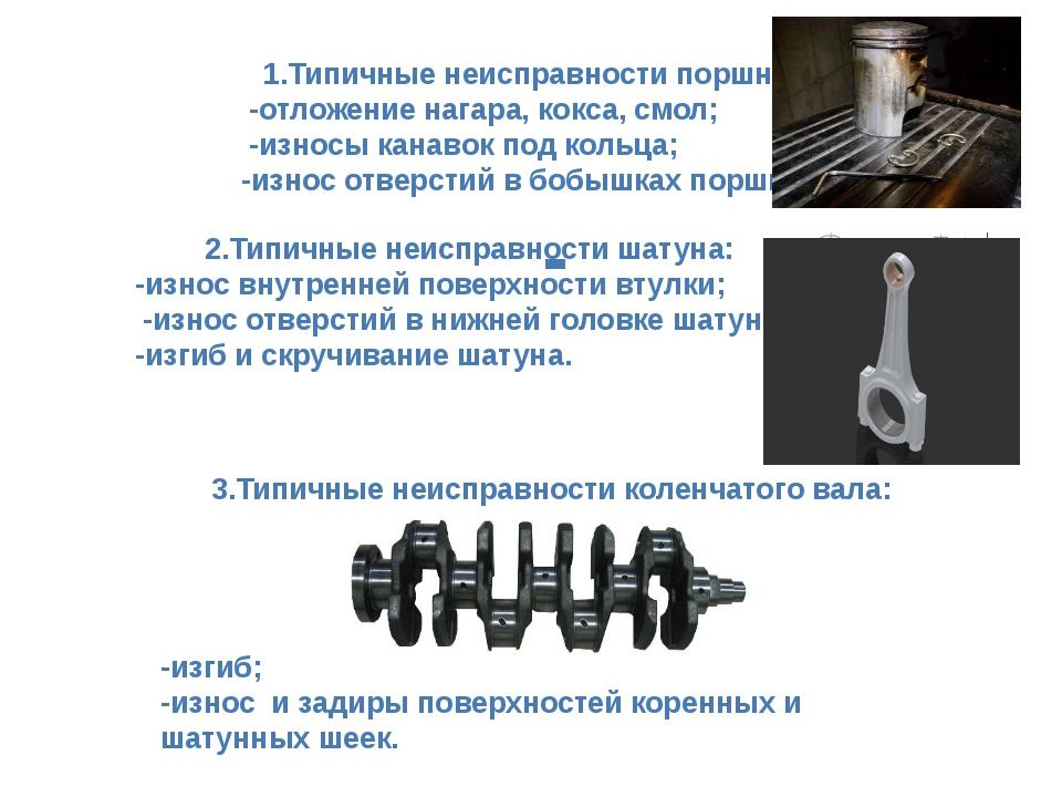1.Типичные неисправности поршня: -отложение нагара, кокса, смол; -износы кана...
