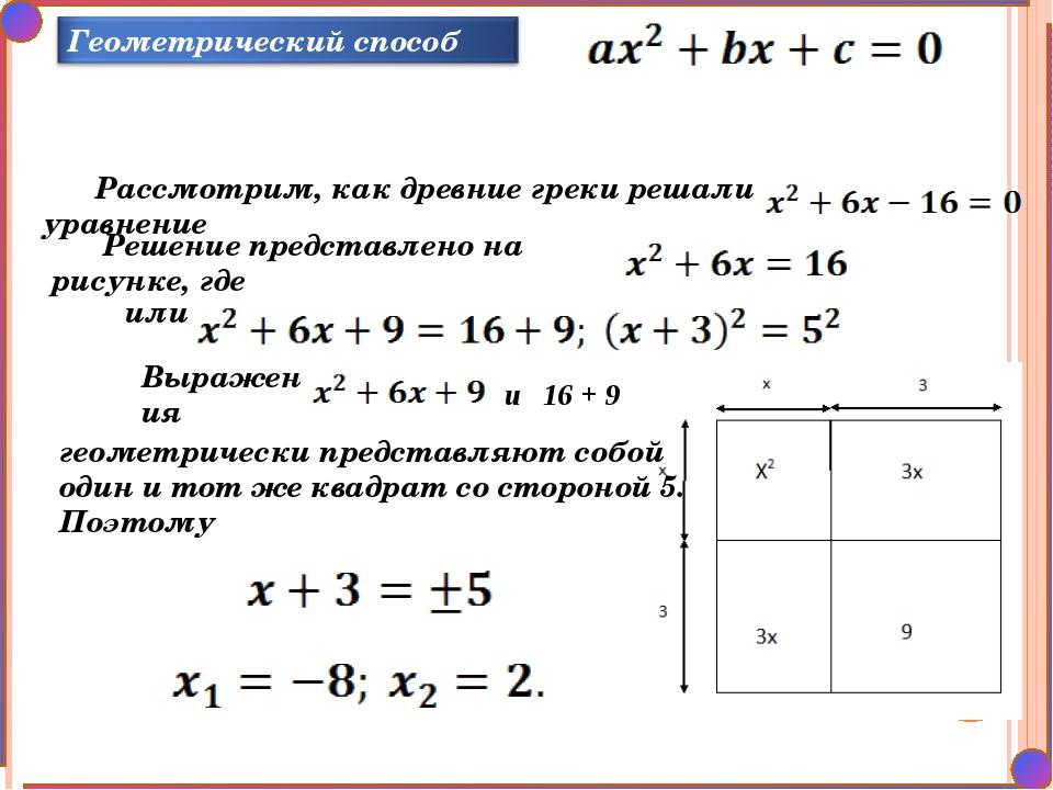 Рассмотрим, как древние греки решали уравнение Решение представлено на рисунк...