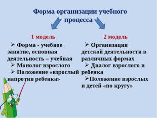 Форма организации учебного процесса 1 модель2 модель Форма - учебное занятие