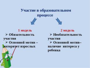Участие в образовательном процессе 1 модель2 модель Обязательность участия О