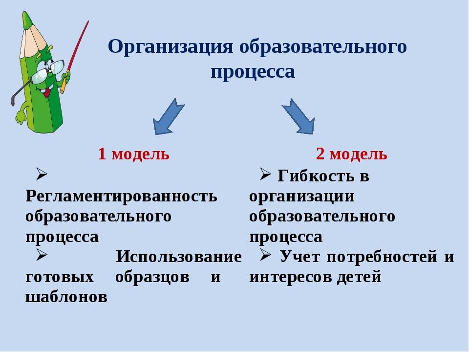 Организация образовательного процесса 1 модель2 модель Регламентированность...