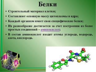 Белки Строительный материал клетки; Составляют основную массу цитоплазмы и яд