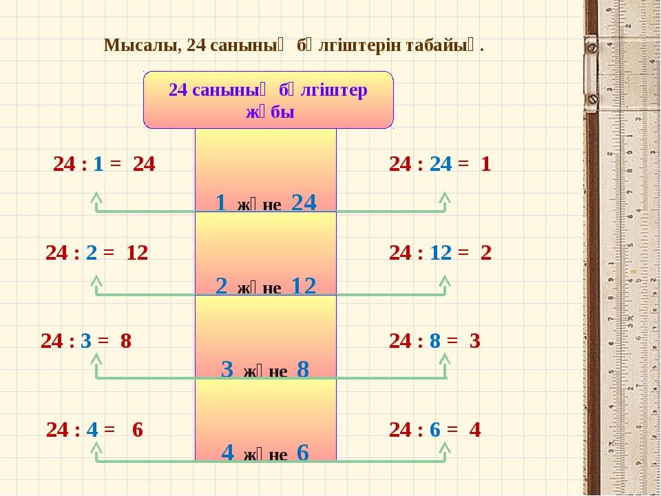 Мысалы, 24 санының бөлгіштерін табайық. 24 санының бөлгіштер жұбы 1 және 24 2...