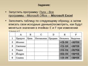 Задание: Запустить программу: Пуск→Все программы→Microsoft Office→ Microsoft