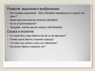 Развитие мышления и воображения: Как понимать выражение : «Всё у Матвейки пер