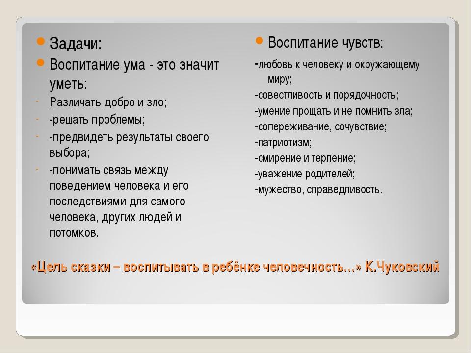 «Цель сказки – воспитывать в ребёнке человечность…» К.Чуковский Задачи: Восп...