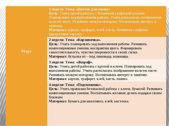 Март 1 неделя: Тема: «Цветок для мамы». Цель:Учить детей работать с бумажно...