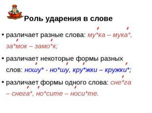 Роль ударения в слове различает разные слова: му*ка – мука*, за*мок – замо*к;