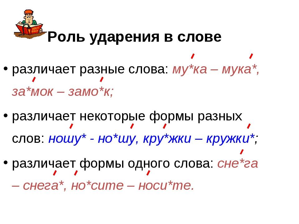 Роль ударения в слове различает разные слова: му*ка – мука*, за*мок – замо*к;...
