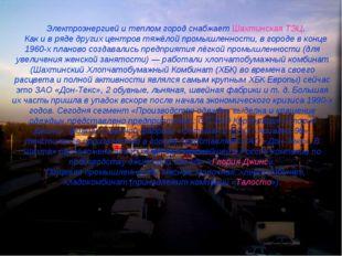 Электроэнергией и теплом город снабжаетШахтинская ТЭЦ. Как и в ряде других ц