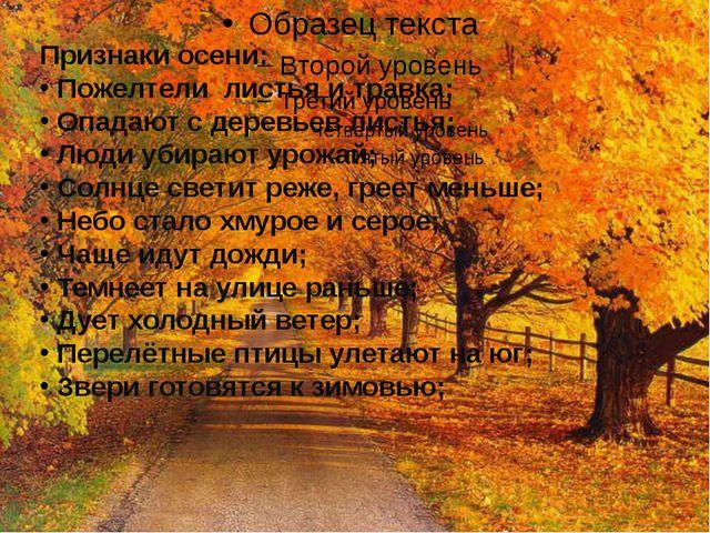 Признаки осени: Пожелтели листья и травка; Опадают с деревьев листья; Люди у...