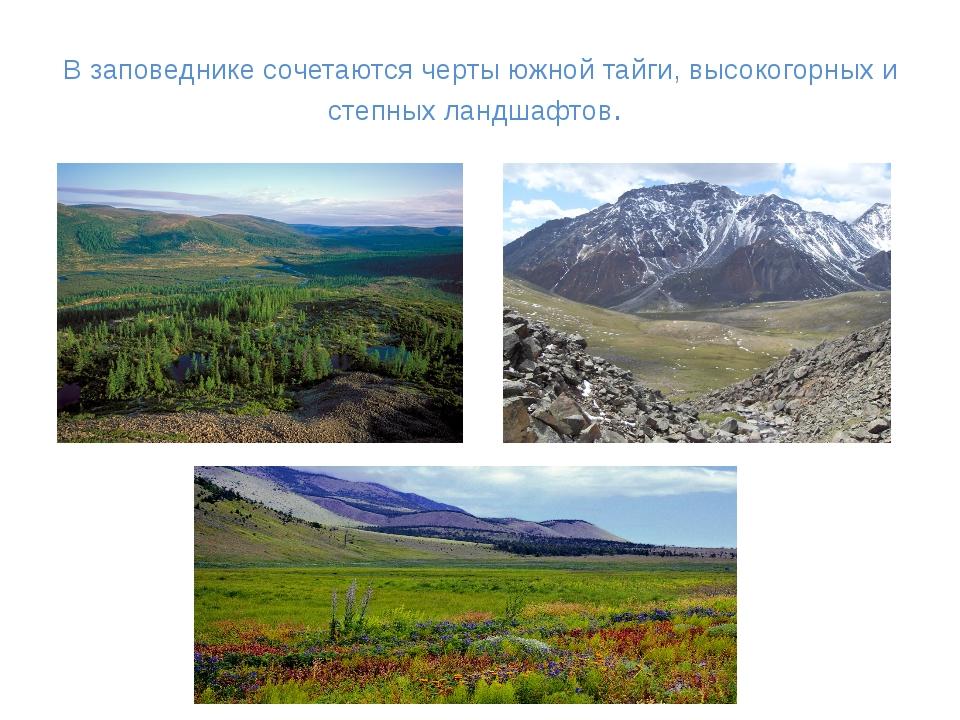 В заповеднике сочетаются черты южной тайги, высокогорных и степных ландшафтов.