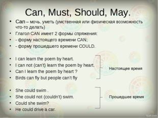 Can, Must, Should, May. Can – мочь, уметь (умственная или физическая возможно