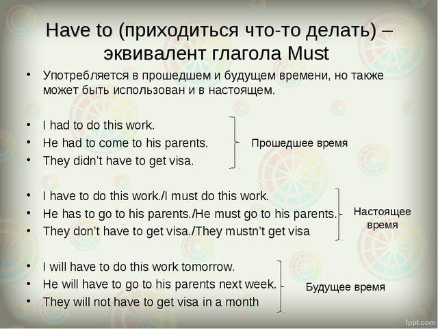 Have to (приходиться что-то делать) – эквивалент глагола Must Употребляется в...