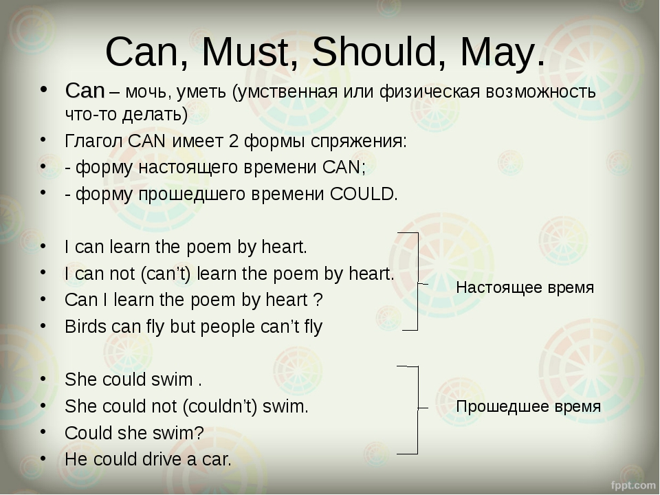 Can, Must, Should, May. Can – мочь, уметь (умственная или физическая возможно...