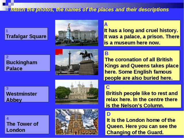 Match the photos, the names of the places and their descriptions 1 Trafalgar...