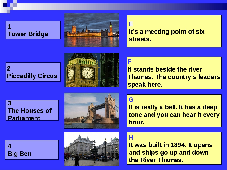 1 Tower Bridge 2 Piccadilly Circus 3 The Houses of Parliament 4 Big Ben E It'...