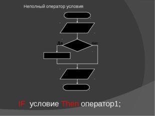 Неполный оператор условия IF условие Then оператор1;