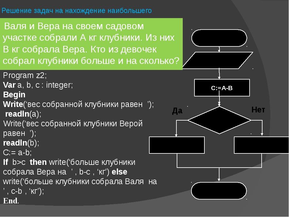 Решение задач на нахождение наибольшего Program z2; Var a, b, c : integer; Be...