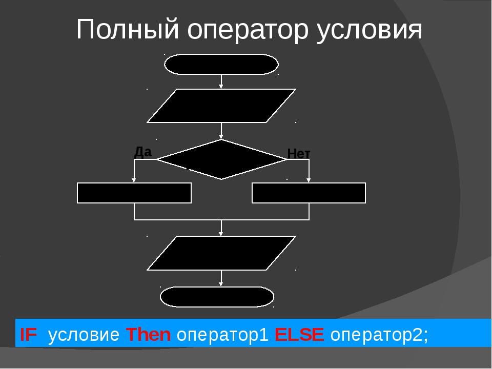 Полный оператор условия IF условие Then оператор1 ELSE оператор2; Нет Да