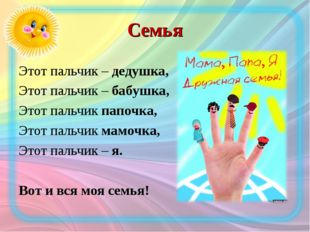 Семья Этот пальчик – дедушка, Этот пальчик – бабушка, Этот пальчик папочка, Э