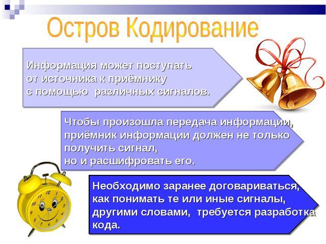 Информация может поступать от источника к приёмнику с помощью различных сигна...